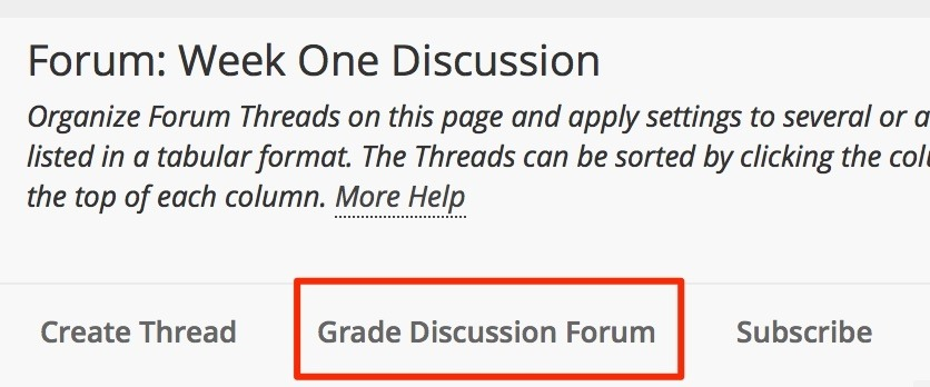 select grade discussion forum to grade